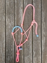 Braided rope halter with running rope connector - Pony, Pink