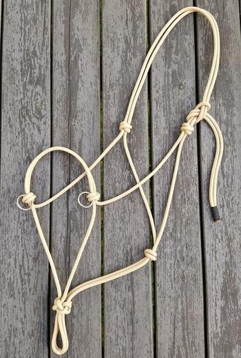 Sidepull rope halter with rings - Full, Tan