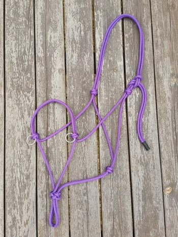 Sidepull rope halter with rings - Full, Purple