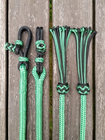 Split reins with rope connectors and tassels - 10 mm, 2 x 2,20 m, Green