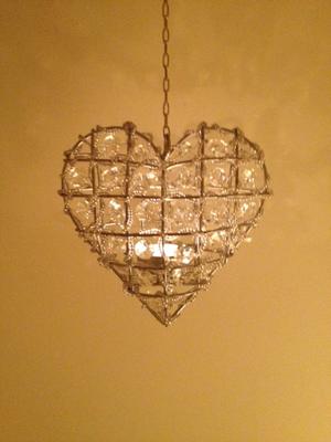 Hjärta .ljuslykta med kristallprismor från Edelweis