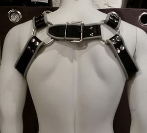 Leder Harness Brüste Grau / Schwarz