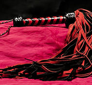 Long Red/Black suede whip - 72-tailed