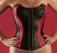 Overbust Leather, Black /Red lambskin-corset