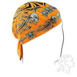 Zan Headgear Orange Tribal Skull
