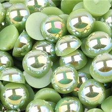 HALVPÄRLA - grön AB 6 mm
