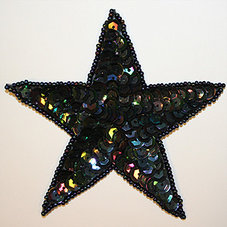PALJETTSTJÄRNA - svart 9 cm