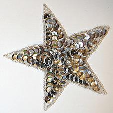 PALJETTSTJÄRNA - silver 9 cm