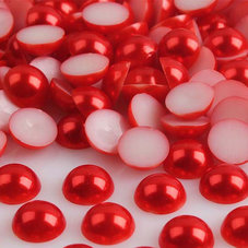 HALVPÄRLA - röd 6 mm