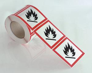 Varselmerke Brannfarlig GHS 02-10x10 cm