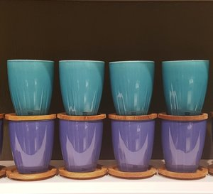 Bruk Mug Turquoise with oak lid 2-pack