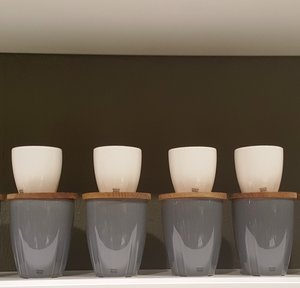 Bruk Mug Grey with oak lid 2-pack  - Kosta Boda