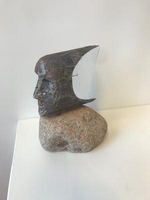 Head of Janus Medium Black White Green Unique - Kosta Boda