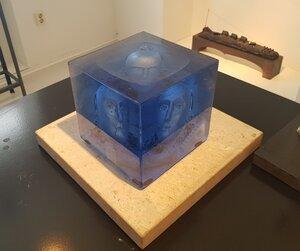 Blue Cube Head in Water Unique - Kosta Boda