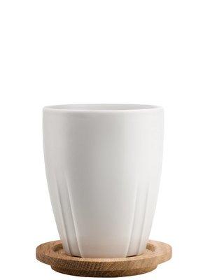 Bruk Mug Light Grey with oak lid 2-pack