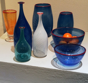 Red Rim Bowl Blue - Kosta Boda