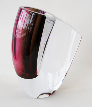 Mirage Vase Gray/Red Small - Kosta Boda