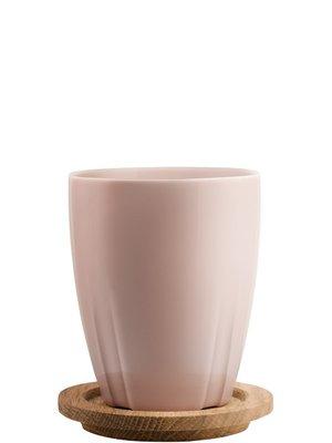 Bruk Mug Light Pink with oak lid 2-pack