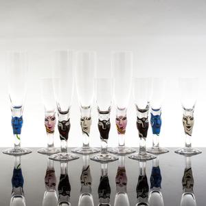 Open Minds Champagne Glass Blue  - Kosta Boda
