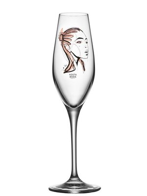 All about you Forever yours Champagne Glass Sun Kiss 2-pack - Kosta Boda