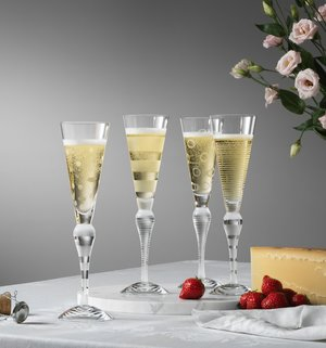 Clown Champagne Glass Frost Stripes - Orrefors