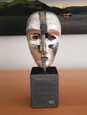 Brains on Base Mercurius Silver Head - Kosta Boda