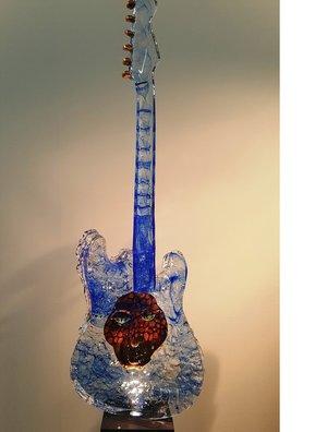 Guitar with Head Blue - Kosta Boda Unique