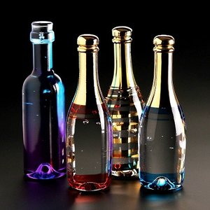 Celebrate Champagne Bottle Blue - Kosta Boda