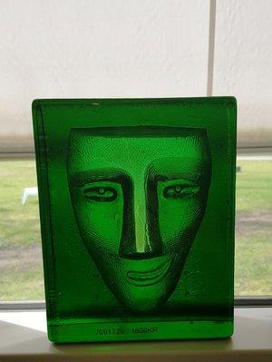 Salute Face Green Block - Kosta Boda