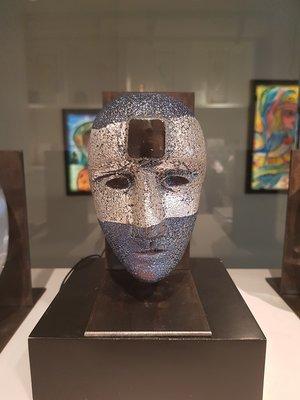 Big Brains Look In Blue/Silver with metal tripod - Kosta Boda