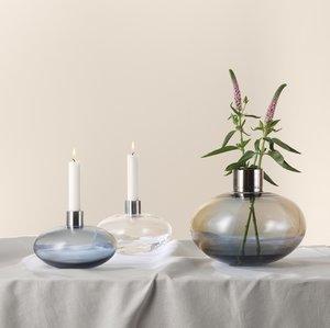 Pluto Vase Blue Grey Gold - Kosta Boda Limited