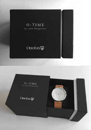 O-Time Watch Cognac with White Dial - Orrefors Unisex Clock