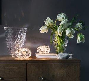 Raspberry Vase Clear Low - Orrefors