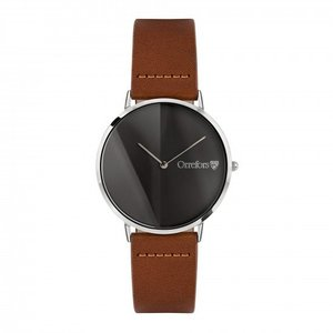 O-Time Watch Cognac with Gun-colored Dial - Orrefors Unisex Clock