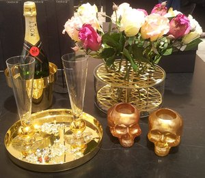 Still Life Votive Gold Skull - Kosta Boda