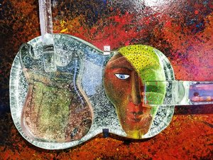 Table Guitar Rock N' Roll Meets Classic Music - Kosta Boda
