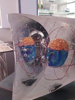 Head of Janus Large Blue Orange - Kosta Boda