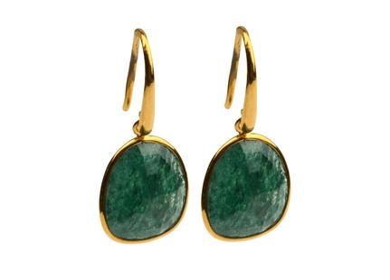 Glam Glam Earring Gold Green Aventurine