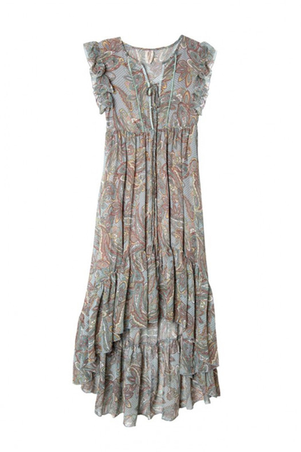 Jukun Asymmetric Printed Long Dress