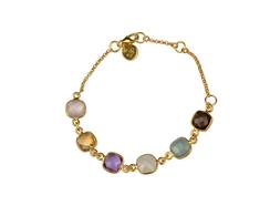 Cushion Bracelet Gold Aquamarine