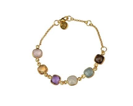 Cushion Bracelet Gold Aquamarine