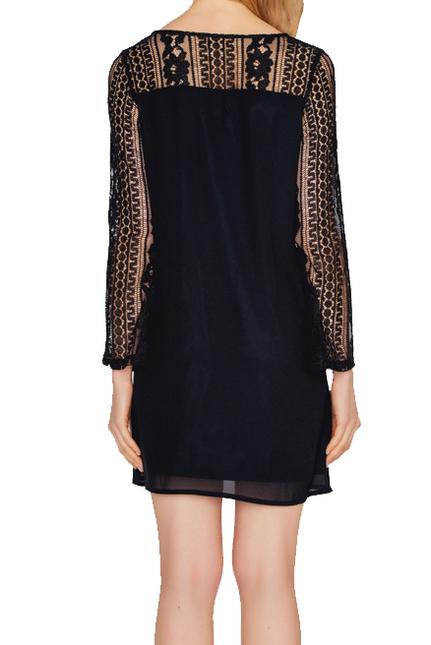 Wood Sleeve Lace Dress