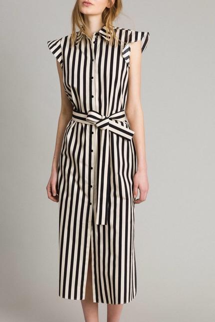 Poplin Striped Shirt Dress