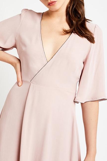 Viscose Midi Dress With Criss-Crossed Neckline