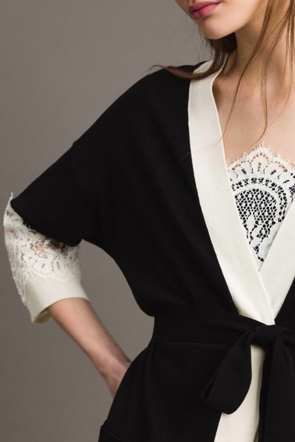 Two-Tone Cardigan With Lace