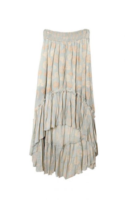 Baibala Asymmetric Skirt With Floral Embroidery