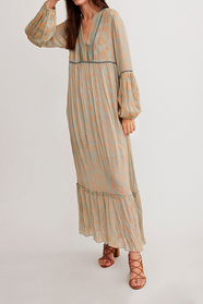 Bhele Long Boho Dress With Floral Print