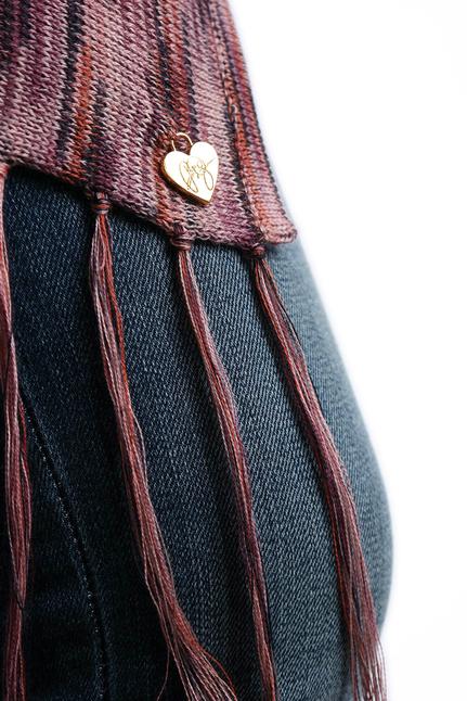 Fine Knit Poncho - Rose