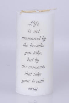 Doftljus Ord cylinderljus stearin Life is not measured White/Pure 70x150 mm