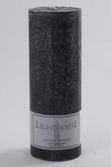 Cylinderljus Stearin Black 70x200 mm